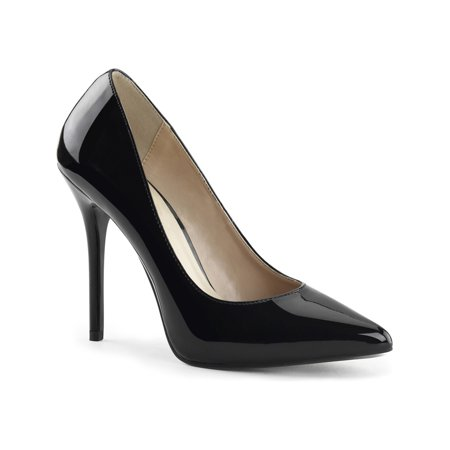 01566aba428  amz brand  - womens high heel pumps black pointed toe shoes 5 inch heels  hidden platform - Walmart.com