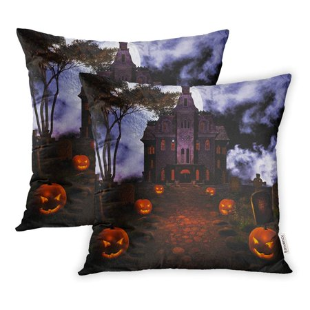 ARHOME Halloween Road to Haunted House Cemetery Dark Full Moon Jack Lantern Night Pillowcase Cushion Cover 16x16 inch, Set of 2