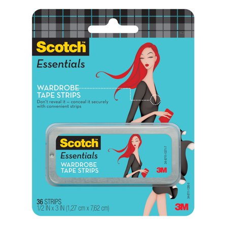 Scotch Essentials Wardrobe Tape Strips, White, 36 Strips/Pack Keep your clothing securely in place, allowing you to move with confidence with Scotch Essentials Wardrobe Tape. It has a white design that will blend smoothly with your outfit for a professional look. This clothing tape has a strong adhesive that will keep it in place as needed. It's available with 36 strips in the pack, offering plenty to work with. Its compact size allows for precision placement. This dress and lingerie tape is simple to apply, so you can be ready to go right away. It will make a helpful addition to your wardrobe.