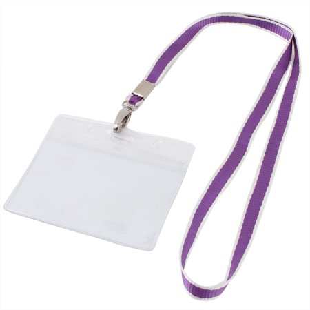 Plastic Horizontal Style Purple Lanyard Name Company Position Badge Card Holder (Potion Names For Halloween)
