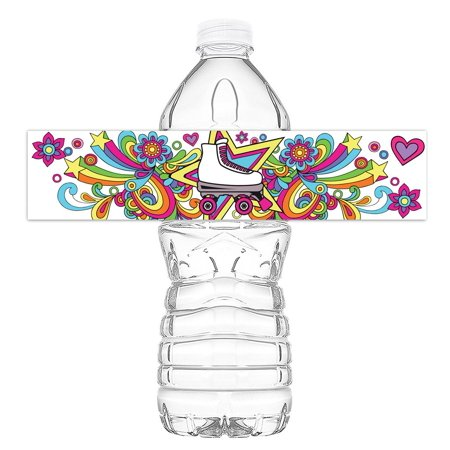 Roller Skating Bottle Wraps - 20 Roller Skating Water Bottle Labels - Roller Skating Decorations - Made in the USA - Roller Skating Decorations