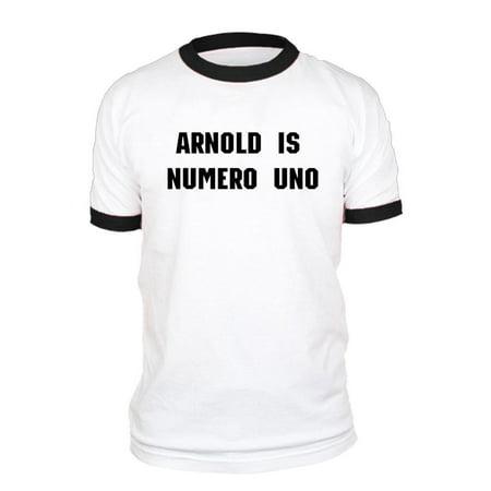 ARNOLD IS NUMERO UNO - Unisex Cotton Retro Ringer Style T-Shirt, Black Rings, XL