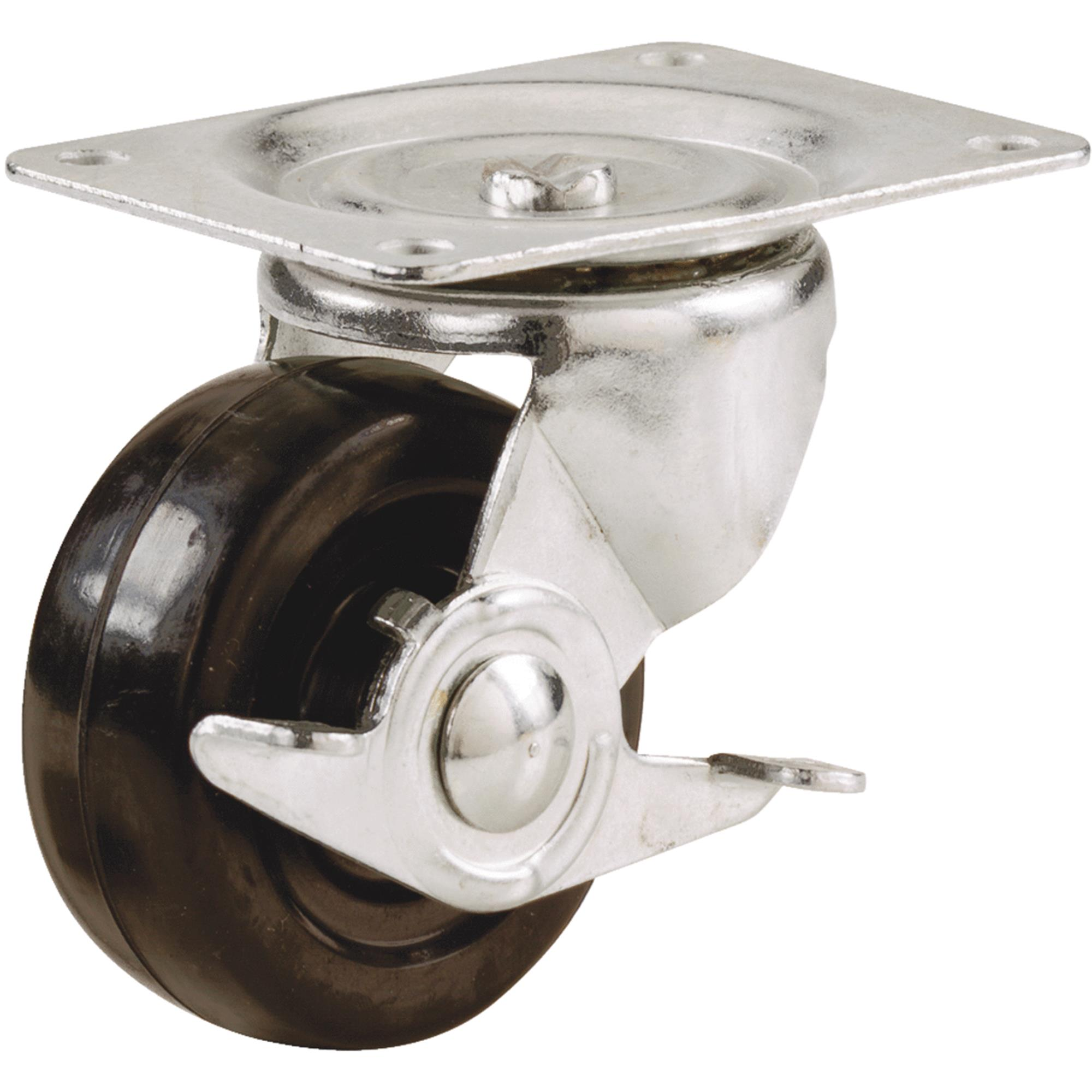 Soft Rubber General-Duty Swivel Plate Caster With Brake