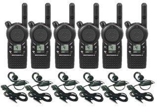 6 Pack of Motorola CLS1410 Walkie Talkie Radios with Headsets by
