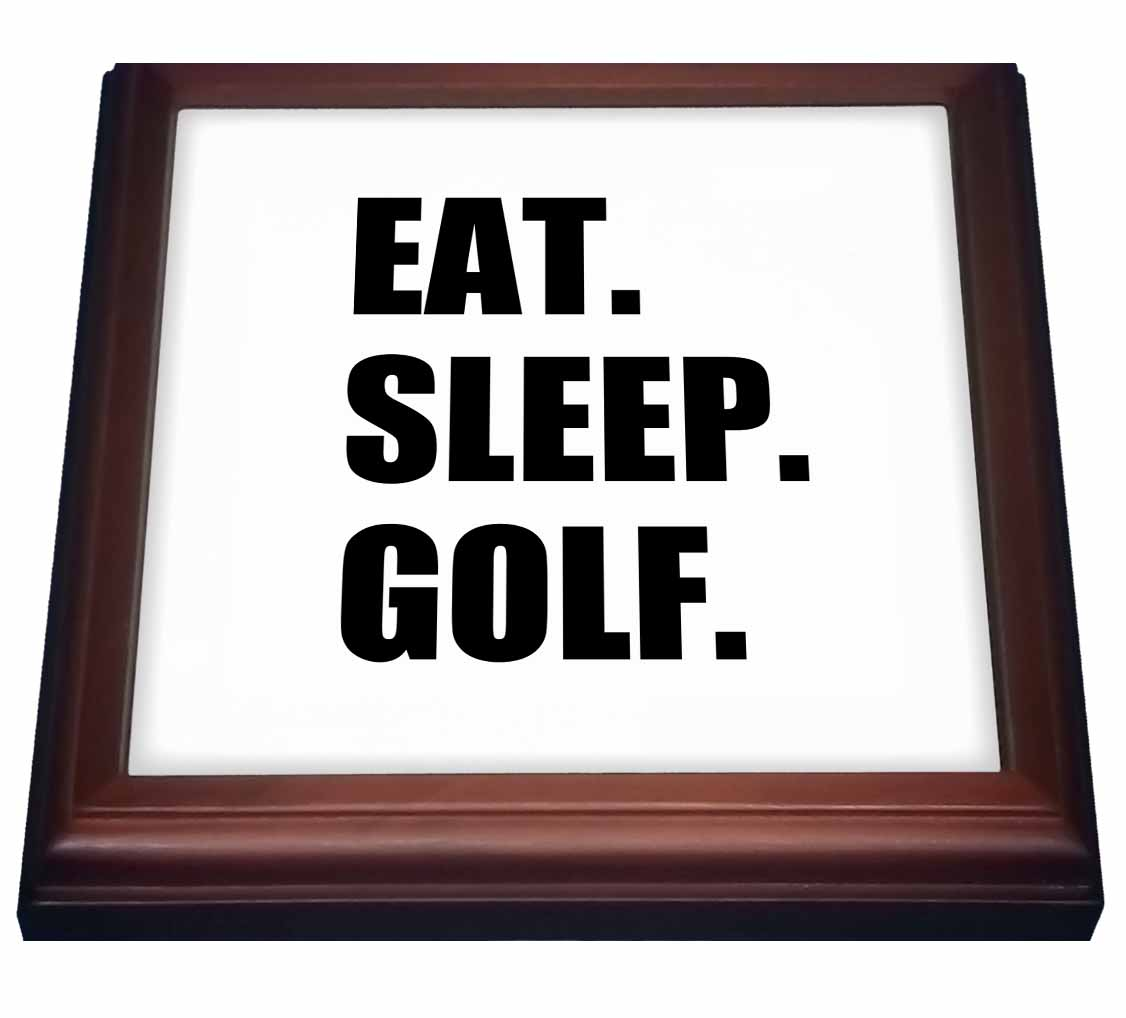3dRose Eat Sleep Golf. Fun text gifts for golfing enthusiasts and pro golfers, Trivet with Ceramic Tile, 8 by 8-inch