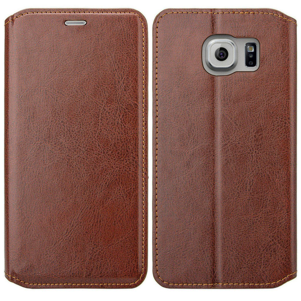 Galaxy S6 Edge Plus Case, Slim Folio [Kickstand] Pu Leather Wallet Case with ID&Credit Card Slot Phone Case for Samsung Galaxy S6 Edge Plus - Brown