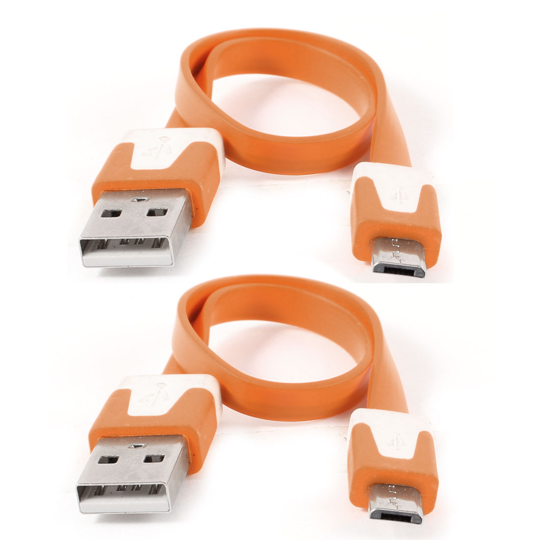 2pcs Orange USB2.0 A to Micro B 5Pin M/M Data Charger Flat Cable 23cm