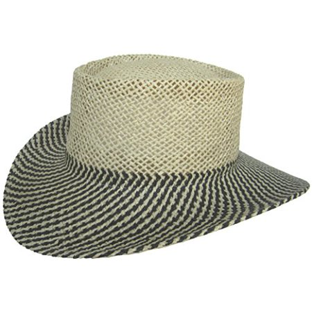 Paper Straw Gambler Wide Brim 2 Tone Golf Hat (Natural   Black   No Band) -  Walmart.com 69e9e26e29c4