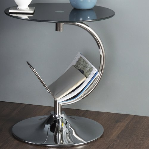 AVF Side Table with Magazine Rack, Black Glass and Chrome, T41-A by AVF