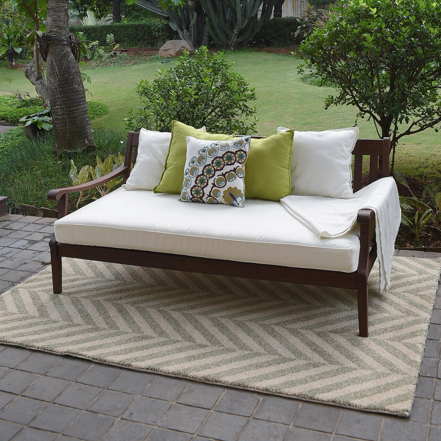Alston Wood Outdoor Sofa Daybed with White Cushion - Walmart.com