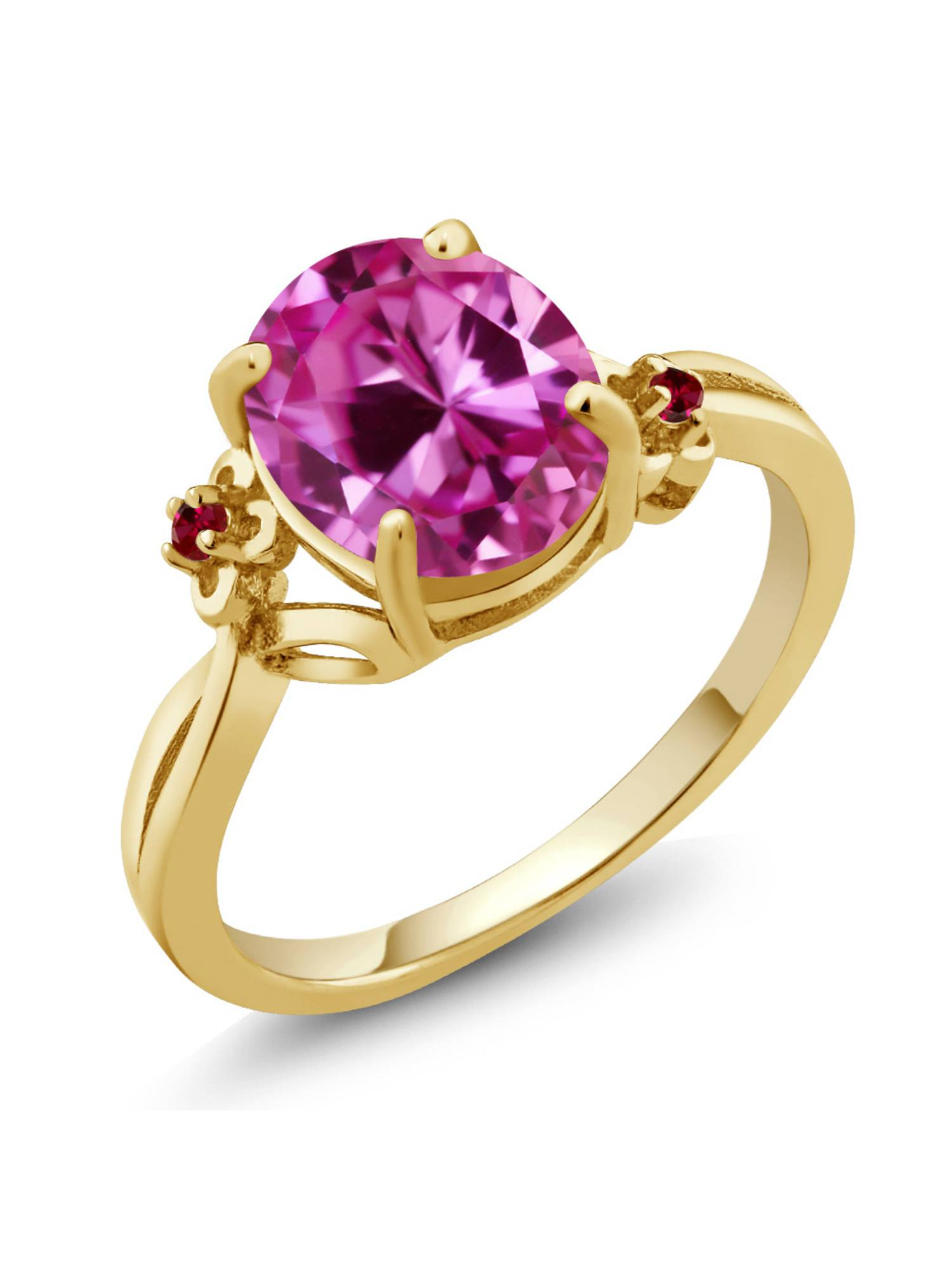 3.28 Ct Oval Pink Created Sapphire Red Created Ruby 14K Yellow Gold Ring by