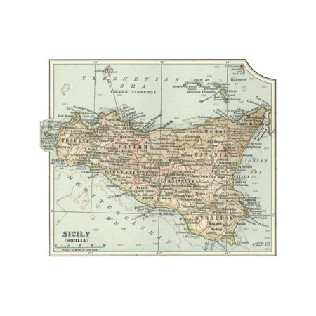 Plate 32. Inset Map of Sicily (Sicilia). Italy Print Wall Art By Encyclopaedia Britannica - Plate Wall Art