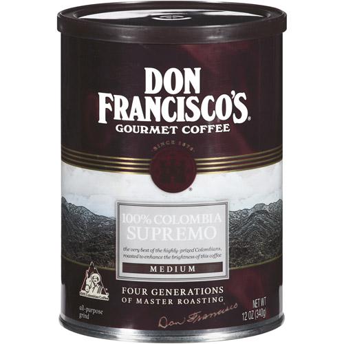 Don Francisco's 100% Colombia Supremo Medium Roast Ground Coffee, 12 oz