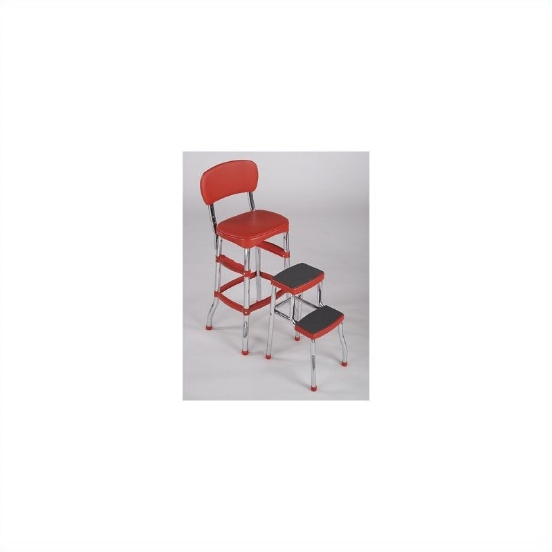 Cosco Red Retro Counter Chair / Step Stool Image 3 of 3  sc 1 st  Walmart & Cosco Red Retro Counter Chair / Step Stool - Walmart.com islam-shia.org