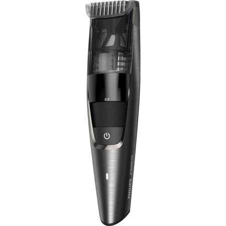 Philips Norelco Beard Trimmer Series 7500, BT7517/49 - ergonomic easy grip, premium beard, mustache, and stubble trimmer with power vacuum, steel blades, cordless, and washable (Philips Norelco Qt4070 41 Beard Trimmer 7300)