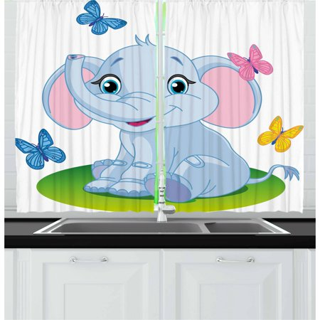 - Nursery Curtains 2 Panels Set, Cute Baby Elephant Sitting on the Meadow in Spring Time with Butterflies, Window Drapes for Living Room Bedroom, 55W X 39L Inches, Baby Blue Pink Green, by Ambesonne