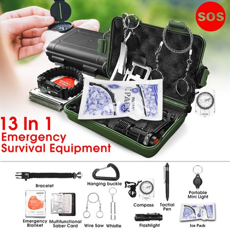 13 in1 Emergency Camping Survival Equipment Kit Outdoor SOS Tactical Hiking Gear Tool Multifunction First-Aid Kit For Camping Hiking