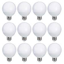 Lighting Science Decorative Frosted Globe Vanity Light Bulbs, Round, G25, E26 Base, 60 Watt Equivalent Soft White (12 Pack) - Globe Light Bulb