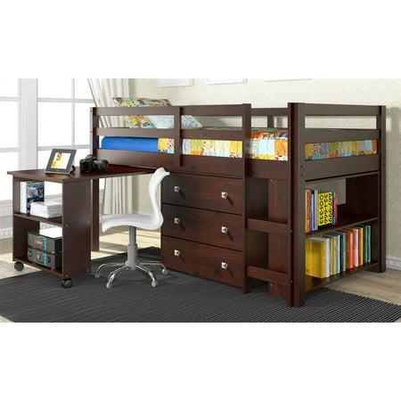 Donco Kids  W Low Study Loft Bed White