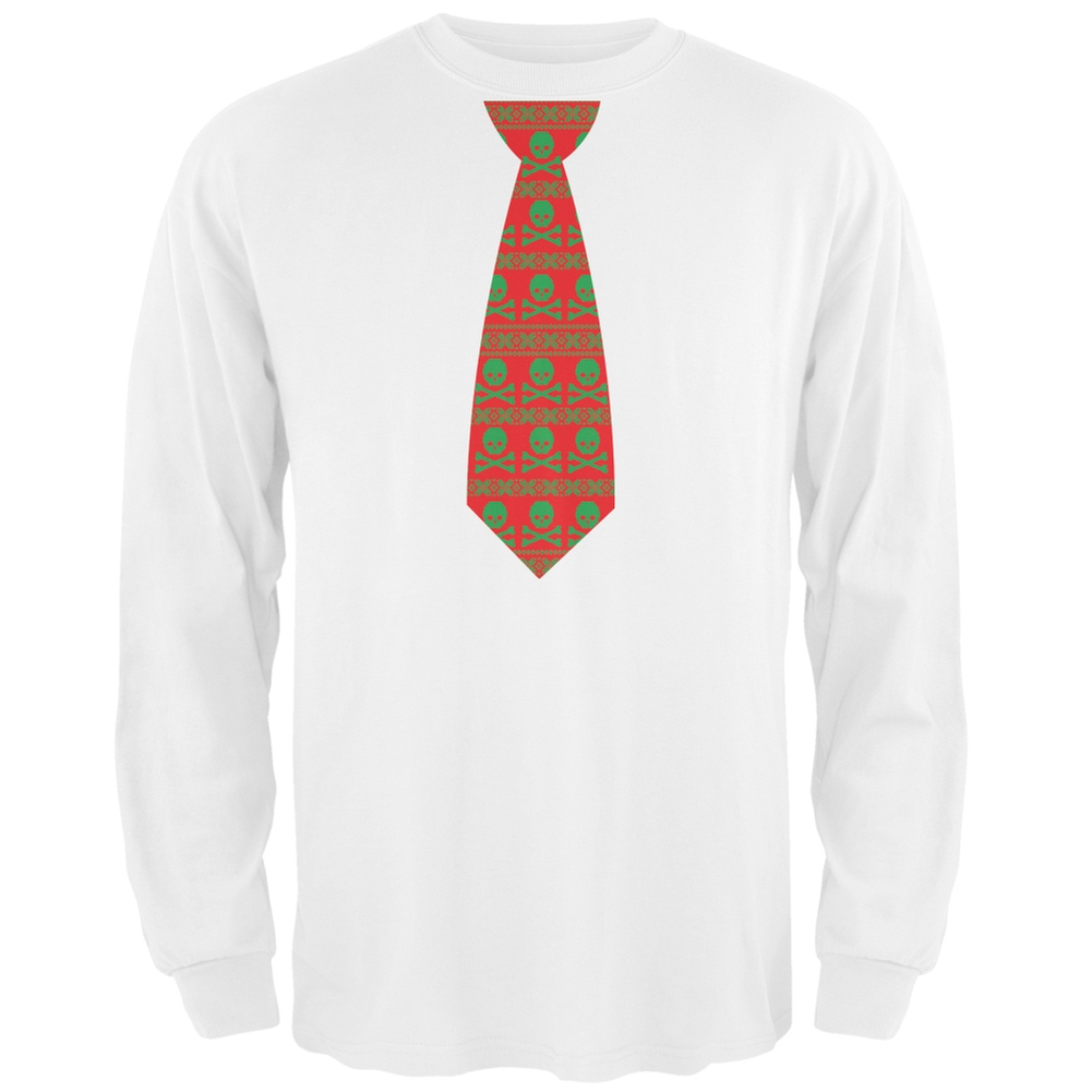 Skull And Crossbones Festive Tie Ugly Christmas Sweater White Adult Long Sleeve T-Shirt