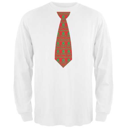 skull and crossbones festive tie ugly christmas sweater white adult long sleeve t shirt walmartcom