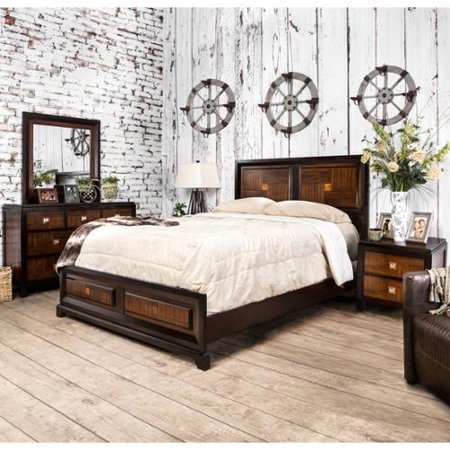 Furniture of America Duo-tone 4-piece Acacia and Walnut Bedroom Set Queen