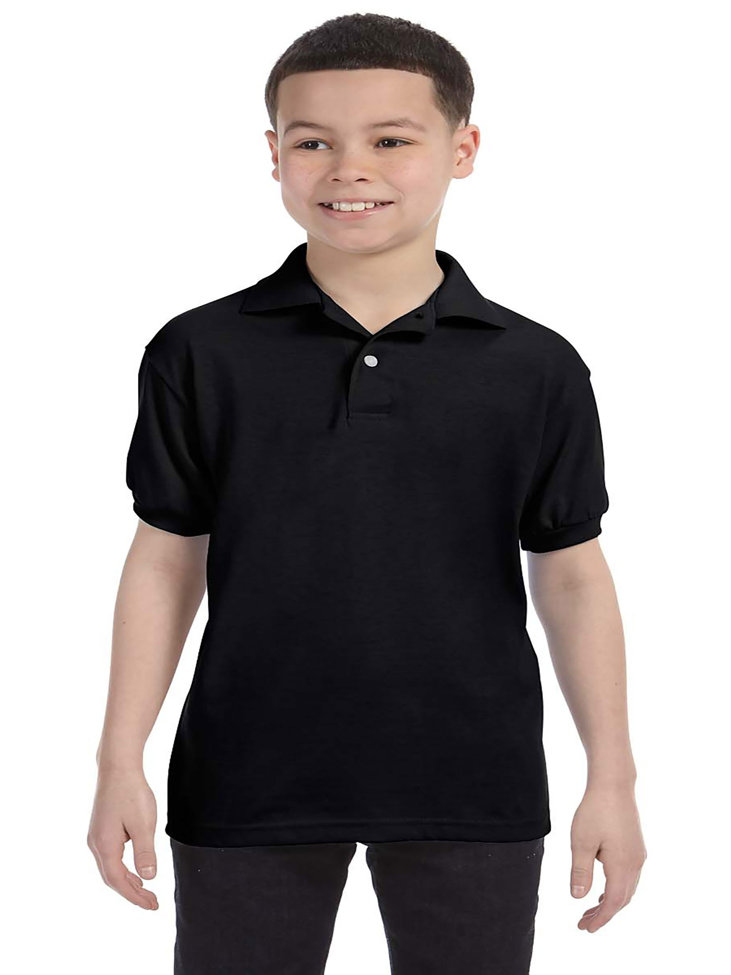 Hanes Boy's Ribbed Cuffs Short Sleeve Jersey Polo Shirt, Style 054Y