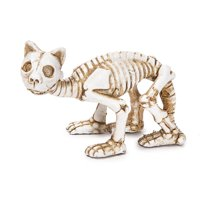 Miniature Halloween Cat Skeleton Figurine: 1 x 2 inches
