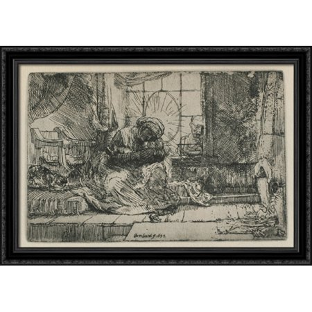 Rembrandt Cat Charm - The Holy Family with a cat 40x28 Large Black Ornate Wood Framed Canvas Art by Rembrandt