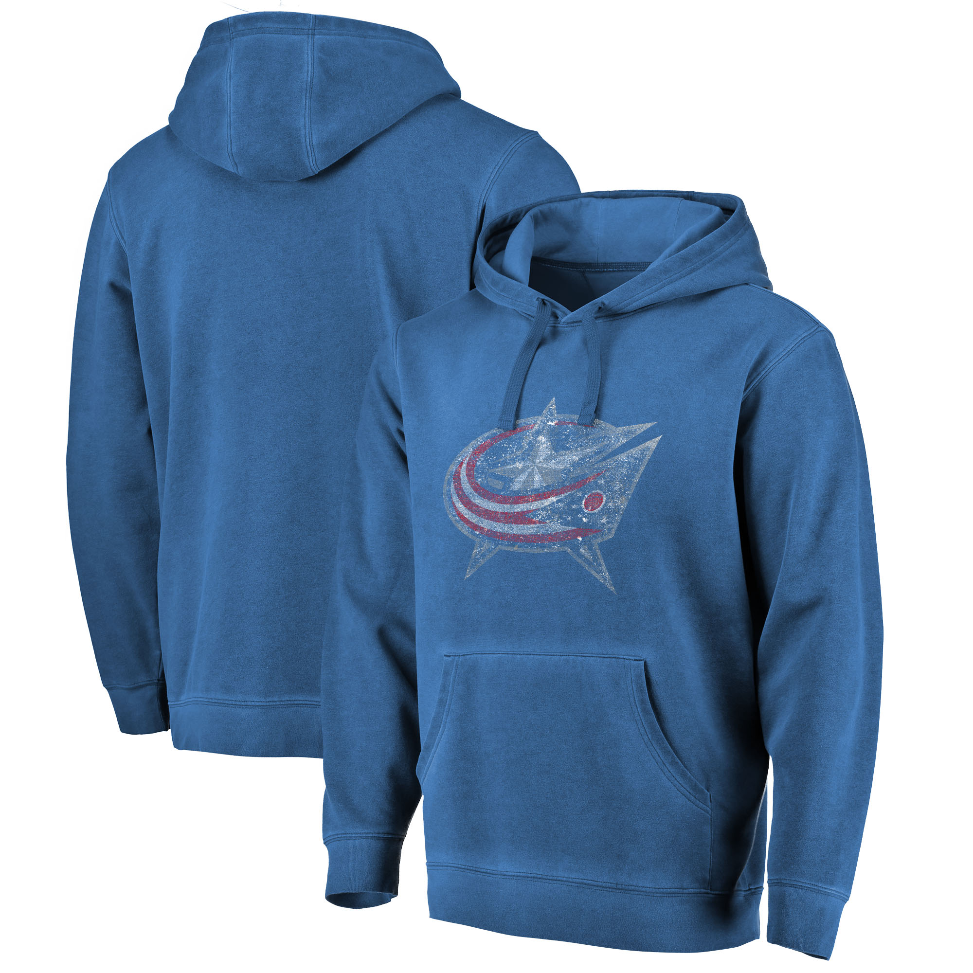 Columbus Blue Jackets Fanatics Branded Shadow Washed Logo Pullover Hoodie - Navy
