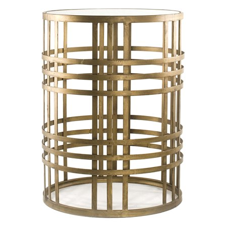 FirsTime & Co. Weave Side Table with Glass Tabletop, Brass Finish Contemporary Glass Side Table