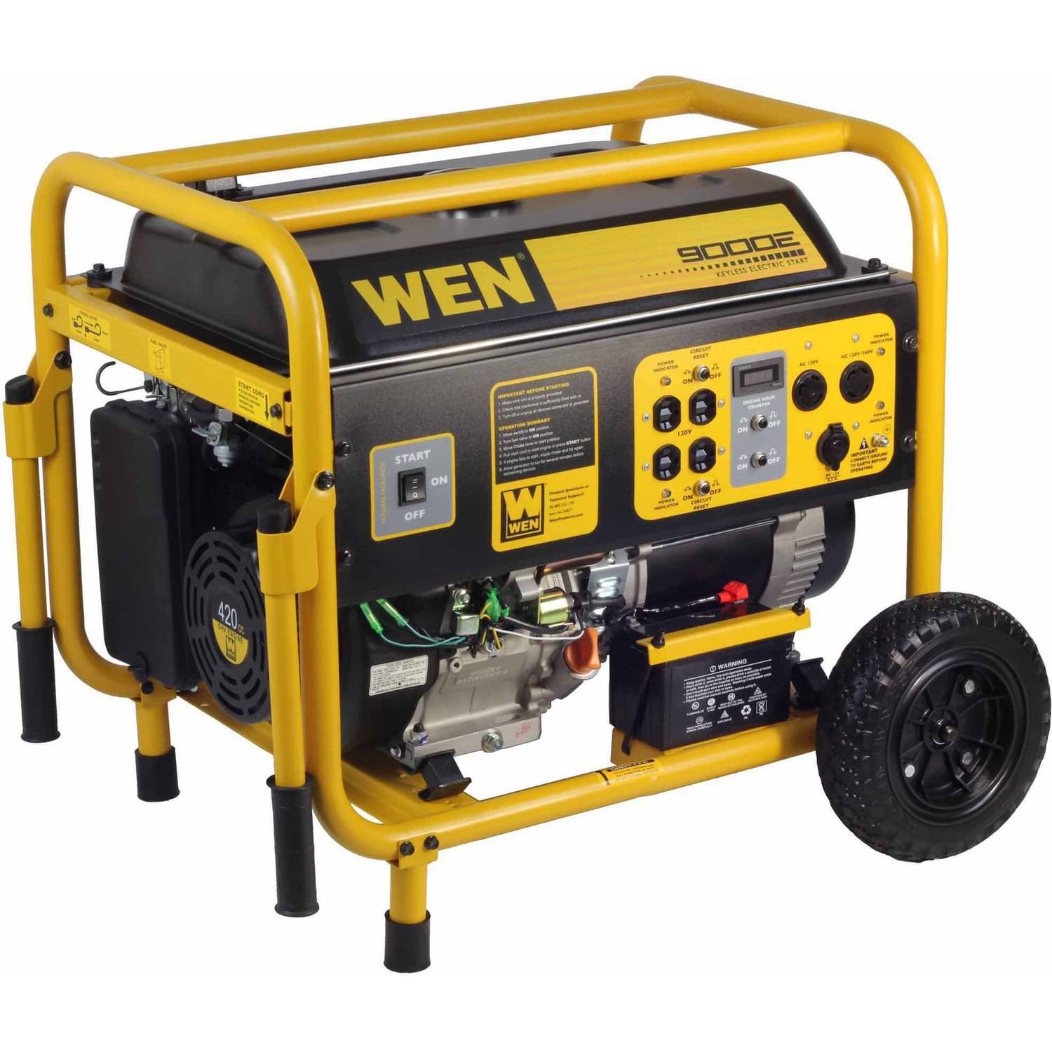 WEN 9000W 420cc 15-HP OHV Gas-Powered Portable Generator with Electric Start and Wheel Kit