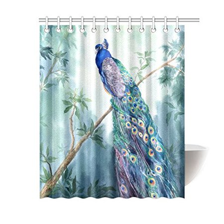 BPBOP Paradise Garden Shower Curtain, Elegant Peacock Polyester Fabric Shower Curtain Bathroom Sets 60x72 Inches ()