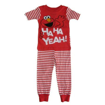 Sesame Street Little Boys White Red Elmo Short Sleeve Pajama - Boutique Pajamas