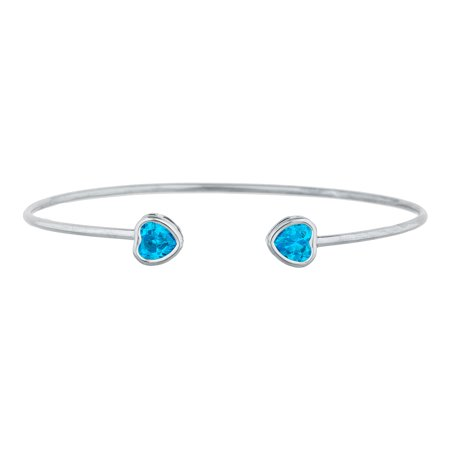 2 Ct Swiss Blue Topaz Heart Bezel Bangle Bracelet .925 Sterling Silver