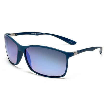 Sport Sunglasses Flex Blue Rubber With Blue Mirror Lens - (Circus By Sam Edelman Sunglasses)