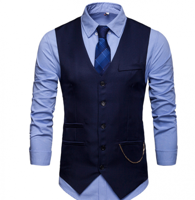 Alvivi Mens V-Neck Sleeveless Slim Fit Waistcoat Jacket Formal Business Suit Vest Button Down