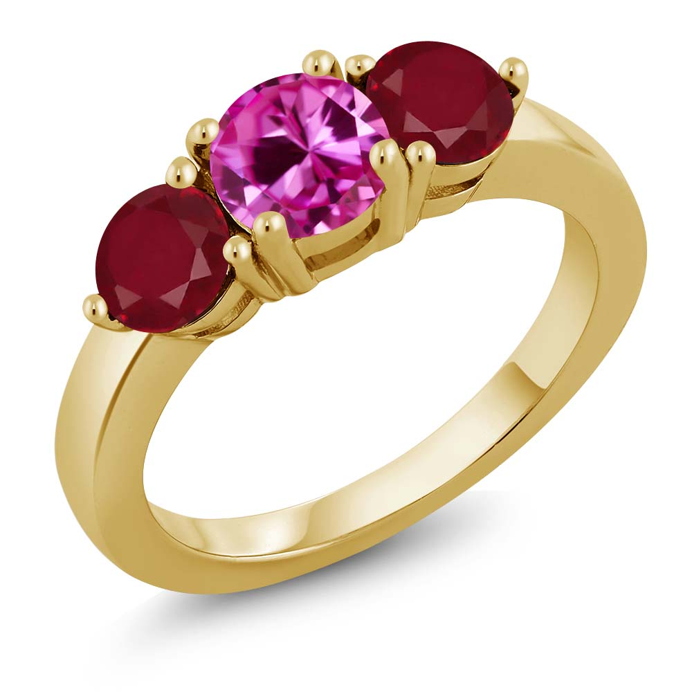 2.12 Ct Round Pink Created Sapphire Red Ruby 18K Yellow Gold Plated Silver Ring by
