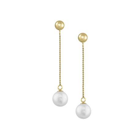 14k Yellow Gold 7mm White Pearl Drop Earrings