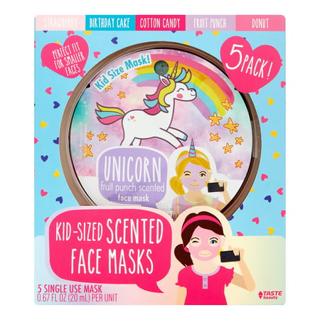 Taste Beauty Scented Face Masks for Kids, 5 Pieces - Funny Face Mask