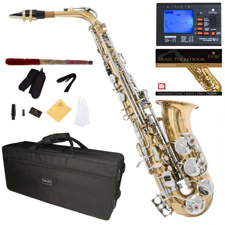 Mendini by Cecilio Eb Alto Sax w/Tuner, Case, Mouthpiece, 10 Reeds, Pocketbook and 1 Year Warranty, MAS-LN Gold Lacquer Body with Nickel Plated Key E Flat Saxophone (Saxophone Mendini Alto)