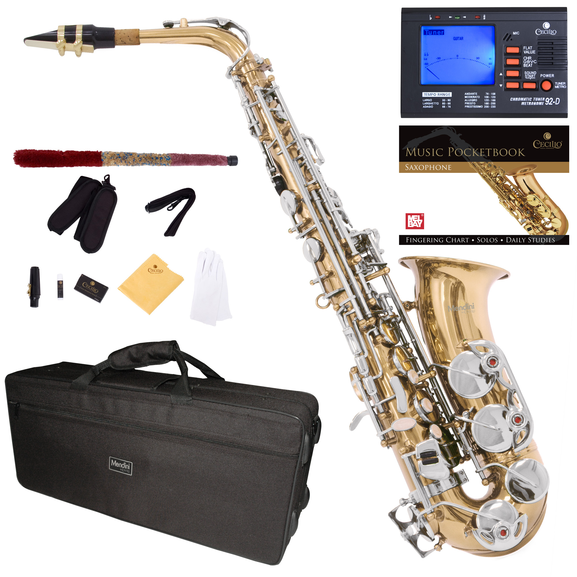 Mendini by Cecilio Eb Alto Sax w/Tuner, Case, Mouthpiece, 10 Reeds, Pocketbook and 1 Year Warranty, MAS-LN Gold Lacquer Body with Nickel Plated Key E Flat Saxophone