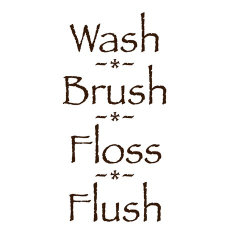 Fireside Home Wash, Brush, Floss, Flush Wall Decal