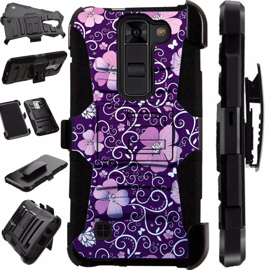 For LG K8V (Verizon Only) VS500 Case Heavy Duty Hybrid Armor Dual Layer Cover Kick Stand Rugged LuxGuard Holster (Purple Vine Flower)