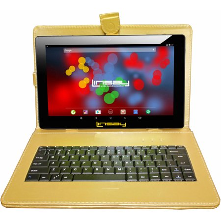 "LINSAY 10.1"" Quad Core 1280 x 800 IPS Screen 2 GB Ram Android 6.0 Tablet 16 GB with Golden Leather Keyboard Case"