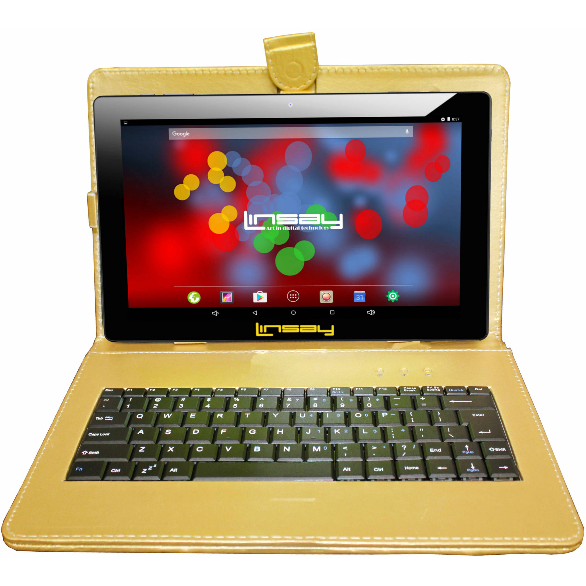 "LINSAY 10.1"" 1280x800 IPS Touchscreen 16GB Tablet PC Featuring Android 6.1 (Marshmallow) Operating System Bundle with Golden Keyboard"