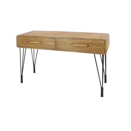 Decmode Modern 30 X 45 Inch Rectangular Iron And Mdf Wood Two Drawer Console Table Brown