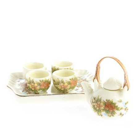 Ultra Tiny Antiquated Floral Painted Ceramic Tea Set for Dollhouse Displays, Crafting, and Creating By Factory Direct