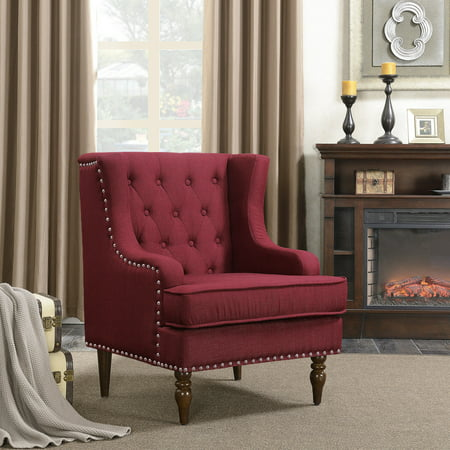 Belleze Stylish Button Tufted With Nailhead Trim Cushioned