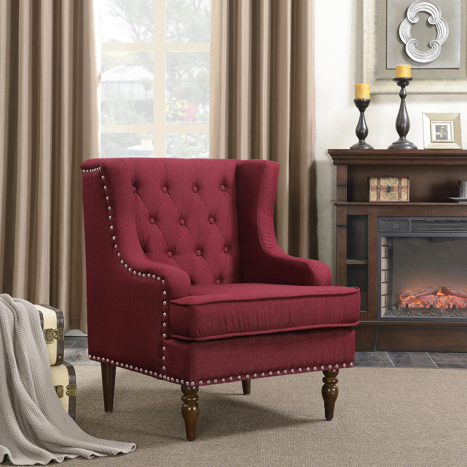 Belleze Stylish Button Tufted with Nailhead Trim Cushioned WingBack Accent Chair Traditional Armrest, Burgundy